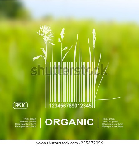Vector blurred nature background with eco label of Organic Farm Fresh Food. Think green. Premium quality green product. Quote. Environmental protection. - stock vector