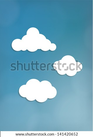 Vector blurred sky with clean white clouds. Website element, or discreet empty background with space for your content.