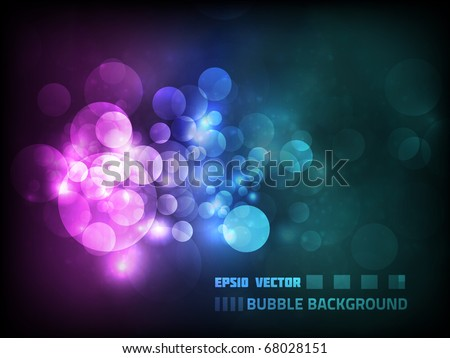 Vector blurry bokeh circles against dark background, colored pink and blue - stock vector