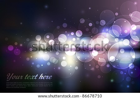 Vector Blurry night city view. Vector illustration. - stock vector