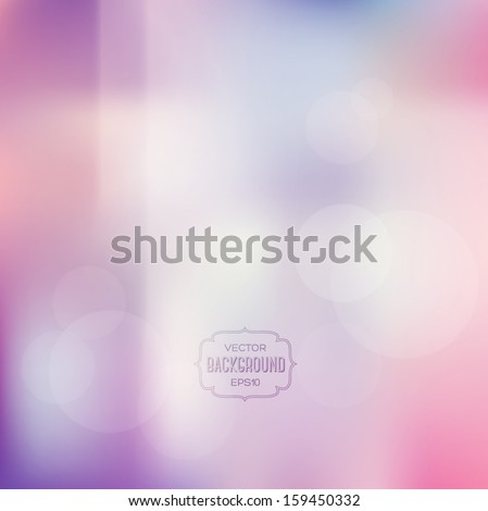 Vector blurry soft background with photographic bokeh effect. Smooth unfocused film effect. Pale romantic pink and purple tones. Retro light leaks. Cross processing effect. - stock vector