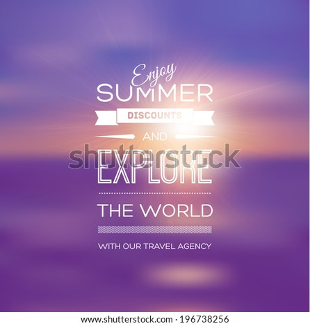 Vector blurry soft summer poster with purple photographic bokeh background. Smooth unfocused film effect. Enjoy summer discounts and explore the world.  - stock vector
