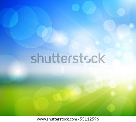 Vector Blurry summer view with sunlight - stock vector