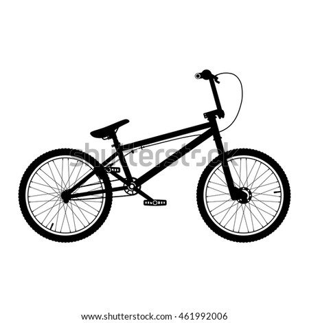 Vector BMX bicycle silhouette. BMX bike isolated on white.