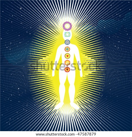 vector body with 7 chakras - stock vector