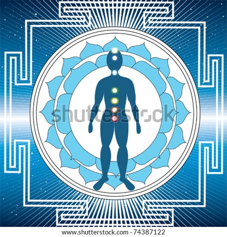 Vector body with chakras and a yantra - stock vector