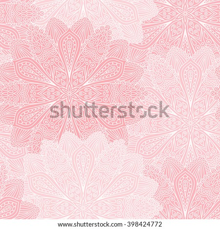 Vector boho chic flower seamless pattern. Elegant floral background for wallpaper, gift paper, fabric print, furniture, curtains. Mandala design element. Unusual flourish ornament. Light pink, white - stock vector
