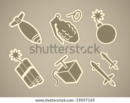 Vector bomb and rocket stickies - stock vector