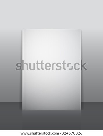 Vector book mockup template. Blank vertically standing emty cover with shadows and reflection. Ready to place your image. - stock vector