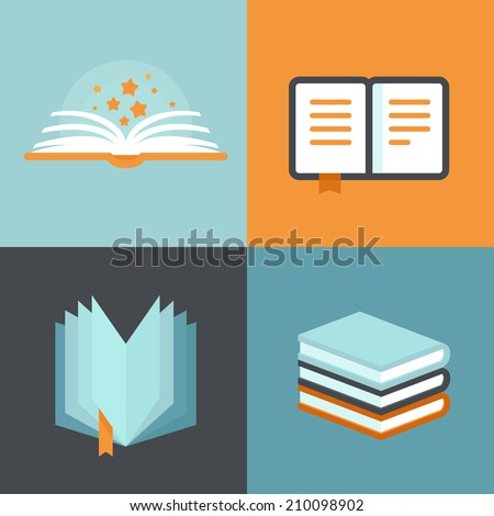 Vector book signs and symbols - education concepts in flat style - stock vector
