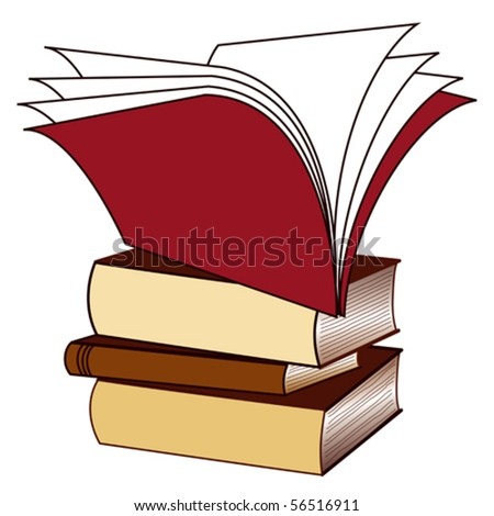 vector - Book Stack  with open book on top. Copy space to add your own text, titles, labels for home, office, back to school, literacy projects. EPS8 organized in groups for easy editing. - stock vector