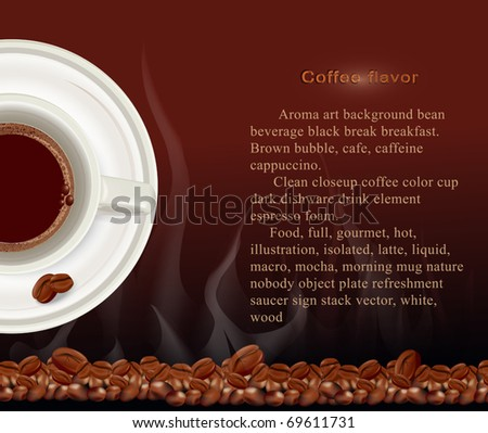 Vector booklet, a cup of coffee on a brown background with coffee beans - stock vector