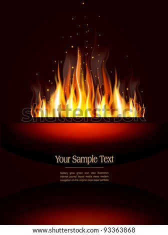 vector booklet with a burning flame and place for text - stock vector