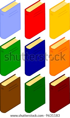vector books in several color versions - stock vector