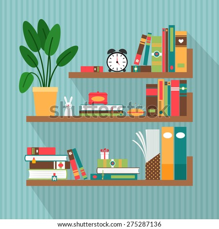 Vector books on bookshelves. Library and literature, interior and study - stock vector