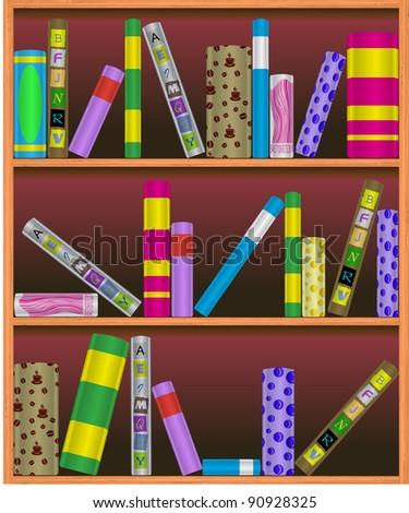 Vector bookshelf illustration - stock vector
