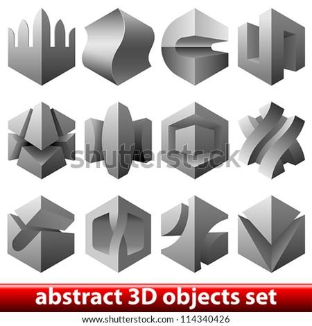 vector boolean 3D design elements - stock vector