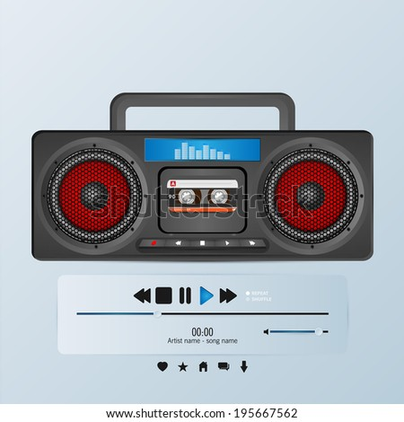 Vector boom box in envelope music player template - stock vector