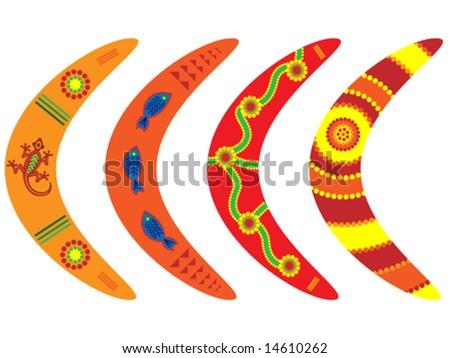 Vector boomerangs with aboriginal style designs. - stock vector