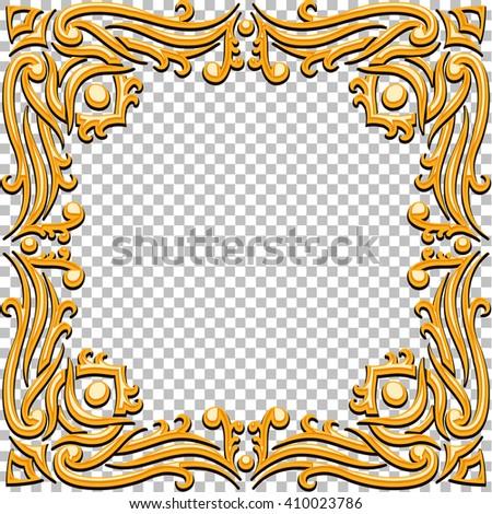 Vector Border Golden Frame With Gems. Oriental Design. Vintage And Elegant.  Can Be