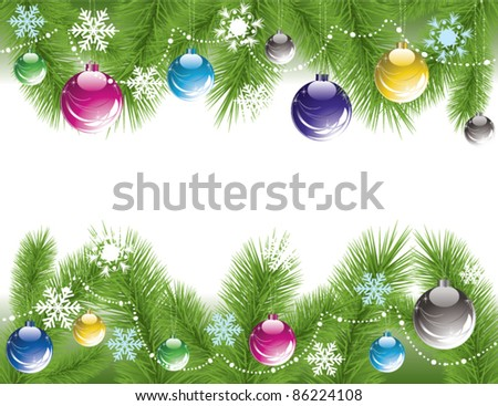 vector border of xmas tree branches with decoration