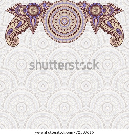 vector border pattern on seamless eastern style  background