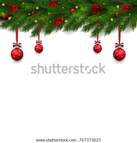 Vector Border With Christmas Tree Branches And Decorations Balls Bows Illustration