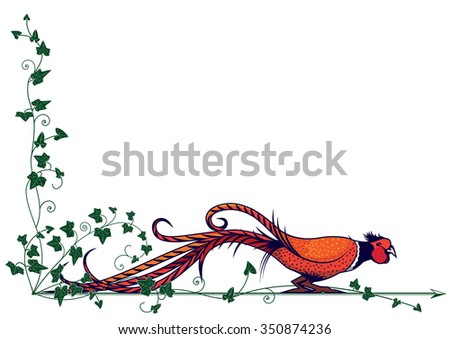 vector border with stylized pheasant for corner design - stock vector