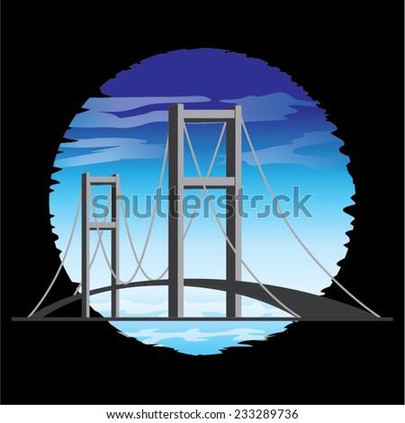 Vector Bosphorus Bridge in Istanbul, Turkey - stock vector