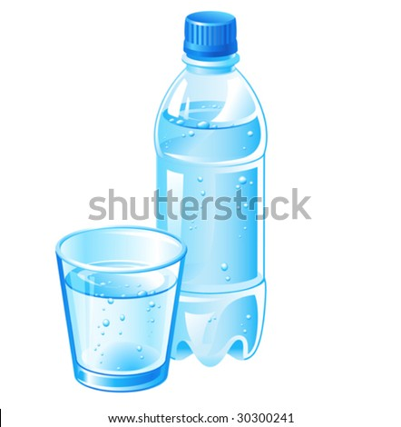 vector bottle and glass filled with  pure water