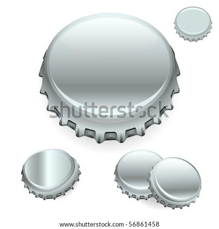 "Vector Bottle Caps - Silver  ""Full compatible - gradients"" - stock vector"