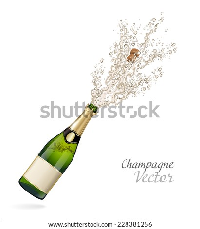 Vector bottle of Champagne explosion - stock vector