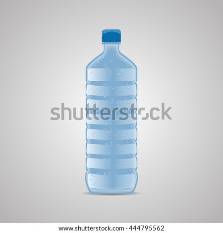 Vector bottle with clean blue water. Vector illustration - stock vector