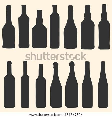 vector bottles icons set - stock vector
