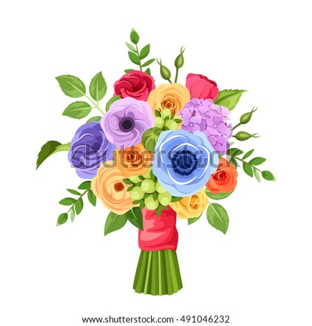 Vector bouquet red orange yellow blue stock vector 491046232 vector bouquet of red orange yellow blue and purple flowers isolated on a mightylinksfo