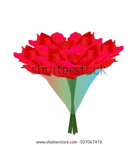 Vector - Bouquet of roses.Concept:To you. - stock vector