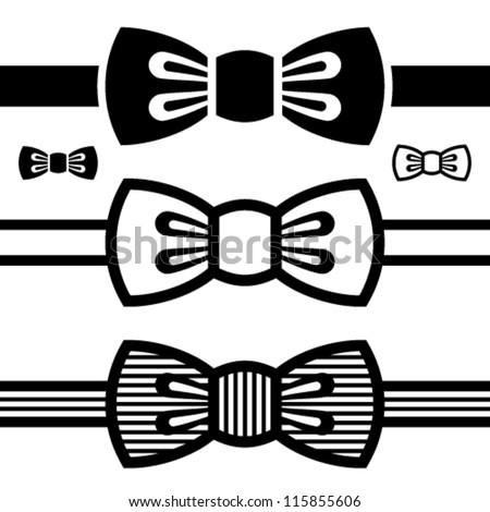 vector bow tie black symbols - stock vector