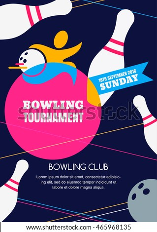vector bowling tournament banner poster flyer stock vector 465968135 shutterstock. Black Bedroom Furniture Sets. Home Design Ideas