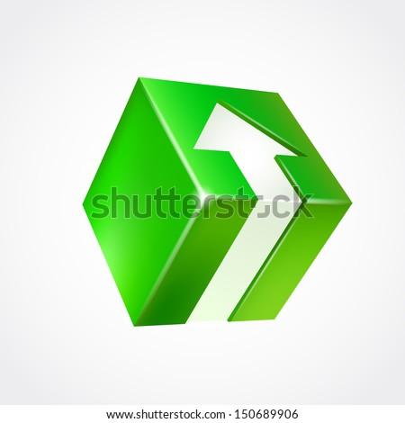 Vector box with arrow. Green - stock vector
