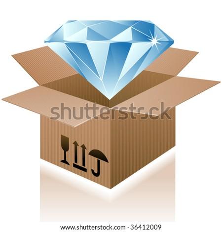 Vector box with brilliant. - stock vector
