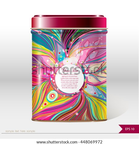 Vector box with place for your text. Design product package. Tea,coffee,dry products.