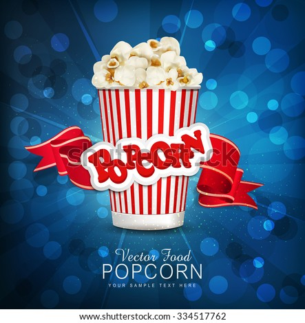 vector box with popcorn on a blue background with a bright red ribbon.