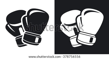Vector boxing gloves icon. Two-tone version on black and white background - stock vector