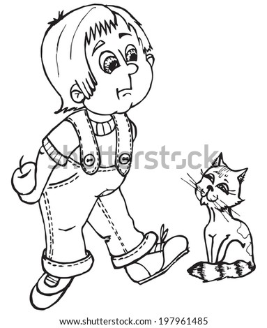 Vector Boy Catapple Contours Coloring Page
