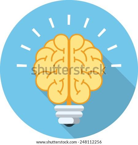 Vector Brain Bulb   - stock vector