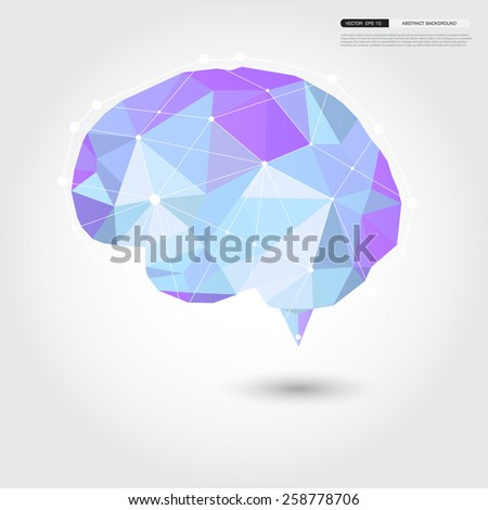 Vector Brain Design geomatric Conceptual low Polygon Style,Abstract vector Illustration