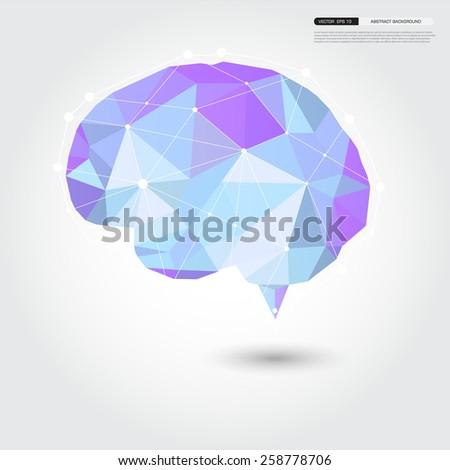 Vector Brain Design geomatric Conceptual low Polygon Style,Abstract vector Illustration - stock vector