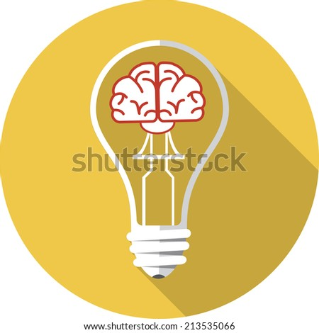 Vector Brain in the Light Bulb  - stock vector