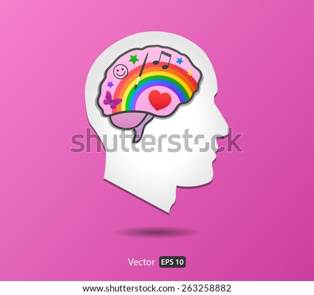 Vector Brain - Right Hemisphere in Man Head from Side view - stock vector