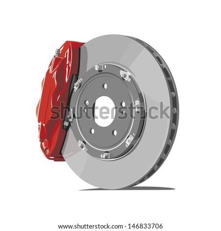vector brake disc on white background - stock vector